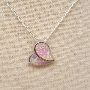 Jewelry - Sterling Silver Heart Pink Lab Opal Necklace